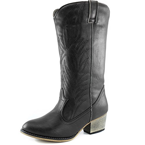 DailyShoes Women's Embroidered Legend Western Cowboy Knee High Boots