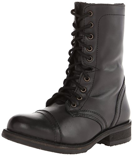 Steve Madden Women's Troopa 2.0 Combat Boot, Black Leather, 7.5 M US