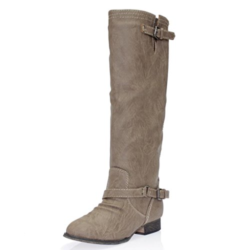 Breckelles Women's OUTLAW-11 Zipper Buckled Casual Riding Boots Beige 9 B(M) US