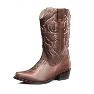 SHOEZY Women's Pu Leather Wedding Cowboy Boots Western Classic Style Brown US 9.5