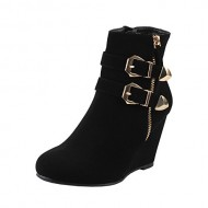 West Blvd Amman Ankle Wedges Boots, Black Nubuck, 8