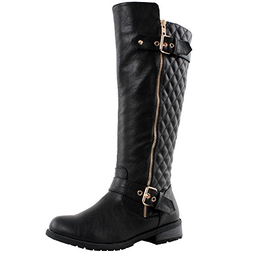 West Blvd Atlanta Quilted Riding Boots, Black Pu, 10