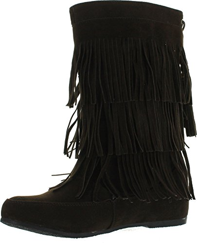 West Blvd Womens Lima Suede Fringe Moccasin Boots