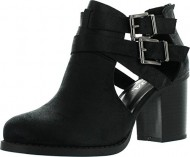 Soda Womens Scribe Ankle Bootie With Low Heel And Cut-Out Side Design