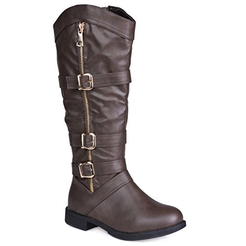 93c4a2791708 Twisted Women s AMIRA Wide Width Wide Calf Faux Leather Knee-High Western  Flat Riding