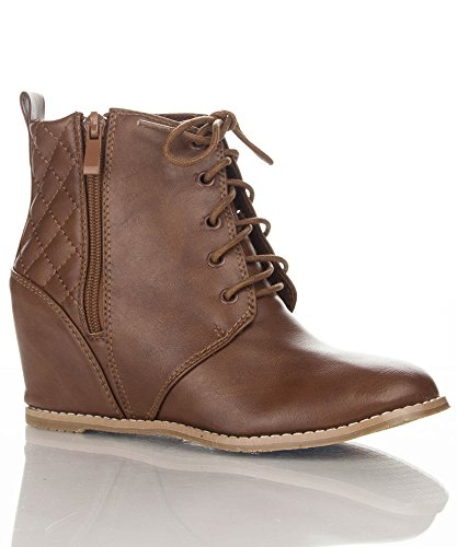 Women Vegan Almond Toe Quilted Ankle Booties TAN (11)