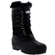 Womens Nylon Cold Weather Waterproof Snow Duck Winter Rain Fur Cuff Lace Boot – 9 – BLK40 YC0132