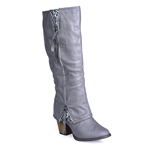 Twisted Womens Tall Zipper Insert Kitten Heel Fashion Boot with Sequin Underlay – GREY, Size 11
