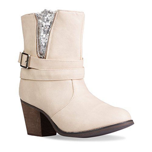 Twisted Women's Lisa Faux Leather Zip-Up Ankle Heel Boot with Rhinestones- CREME, Size 9