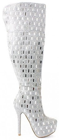 JJF Shoes Sexy2 Silver Over Knee Sparkling Rhinestone Stud Stiletto Heel Hidden Platform Boot-9