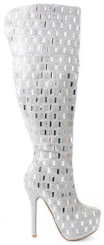 JJF Shoes Sexy2 Silver Over Knee Sparkling Rhinestone Stud Stiletto Heel Hidden Platform Boot-9