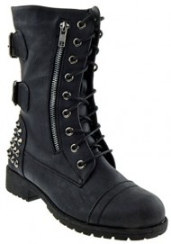 Rider 83 Womens Military Lace up Studded Combat Boot Black 8.5