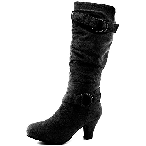 Dailyshoes Women's Slouchy Mid Calf Strappy Boots with Ankle and Top Straps – 2″ Heel Fashion Boots,9 B(M) US,Black SV w/Side Pocket