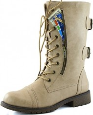 Women's Military Up Buckle Combat Boots Mid Knee High Exclusive Credit Card Pocket, Beige, 7.5