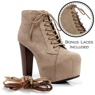 Speed Limit 98 ROSA Designer Inspired Lita Style Chunky High Heel Lace Up Ankle Boot Bootie TAUPE SUEDE /CAMEL LACE (8.5)