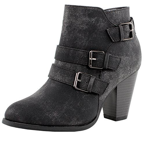 Forever Camila-64 Womens Fashion Chunky Heel Buckled Strap Ankle Booties,Black,7.5