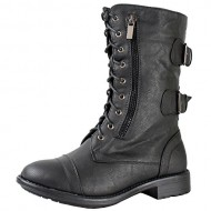 Top Moda Pack-72 Women's Back Buckle Lace Up Combat Boots Black 7.5