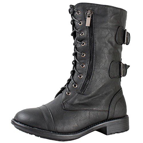 Women's Combat Military Cowboy Mid Calf Rubber Sole Lace up Ankle Buckles Strap Stean Punk Round Toe Flat Heel Motorcycle Casual Combat Boots Fashion Designer Comfort Shoes,9 B(M) US,Premium Black