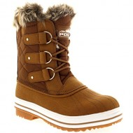 Womens Snow Boot Nylon Short Fur Rain Winter Waterproof Snow Warm Boots – Tan – 8 – 39 – CD0033