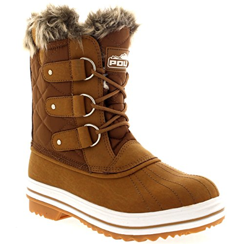 Womens Snow Boot Nylon Short Fur Rain Winter Waterproof Snow Warm Boots – Tan – 8 – 39 – CD0033