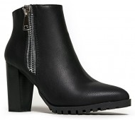 Zipper Designer Western Pointed Toe Wooden Heel cowboy Ankle Boot Moto Bootie