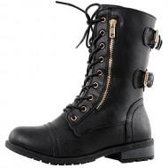 West Blvd Sydney Combat Combat Boots, Black Pu, 8.5
