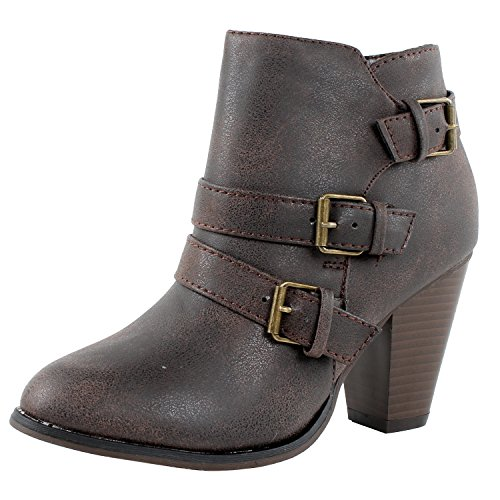 Titan Mall Forever Camila-64 Womens Fashion Chunky Heel Buckled Strap Ankle Booties (7 B(M) US, Brown)