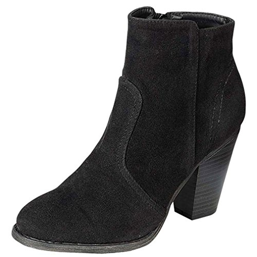 Breckelles Heather-34W Bootie Boots,8 B(M) US,Black Suede