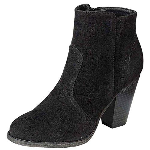 Breckelles Heather-34W Bootie Boots,8 B(M) US,Black Suede