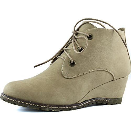 Women's DailyShoes Fashion Up Round Toe Ankle High Oxford Wedge Bootie