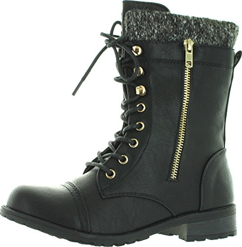 Forever Link Womens Mango-31 Round Toe Military Lace Up Knitted Ankle Cuff Low Heel Combat Boots,Black Pu,8.5