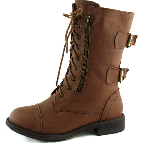 Women's Combat Military Cowboy Mid Calf Rubber Sole Lace up Ankle Buckles Strap Stean Punk Round Toe Flat Heel Motorcycle Casual Combat Boots Fashion Designer Comfort Shoes,8.5 B(M) US,Tan (Zipper w/ Belt)