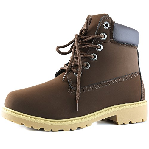 Women's DailyShoes Lace-Up Ankle Padded Collar Work Combat Ladies Hard Toe Booties