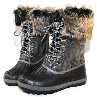 Bamboo Blizzard-02 Women's Lace Up Waterproof Snow Duck Fur Boot,Black,8.5